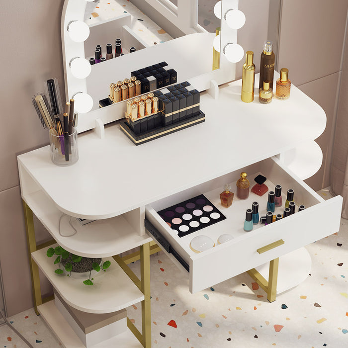 Large Vanity Table with Lighted Mirror and Drawer,9 Lights and 6 Storage Shelves