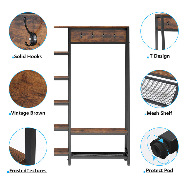 Tribesigns Extra Large Closet Organizer with Hooks, Free-Standing Closet Organizer Garment Racks with Shelves