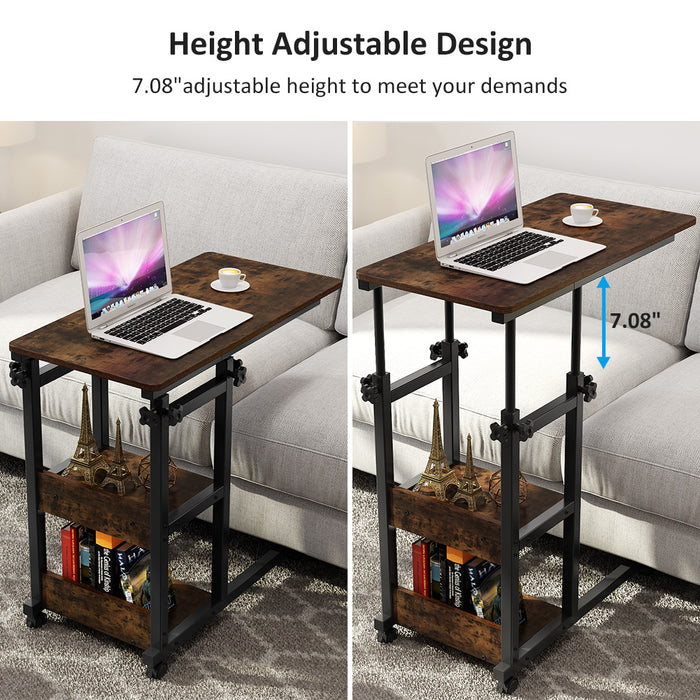 Tribesigns Snack Side Table, Mobile End Table Height Adjustable Bedside Table