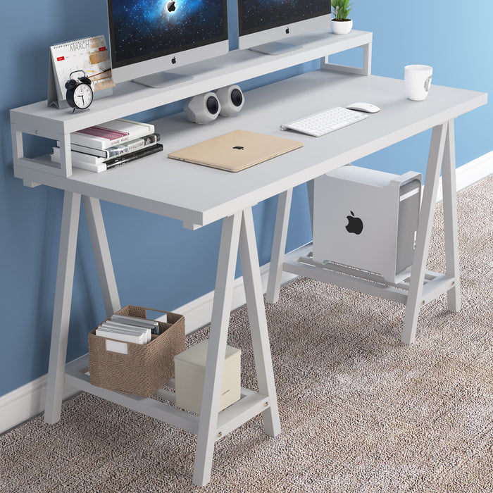 Tribesigns Computer Desk with Hutch and Storage Shelves Office Desk Computer Table