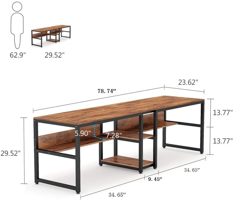 Tribesigns Two Person Desk with Bookshelf, for Home Office
