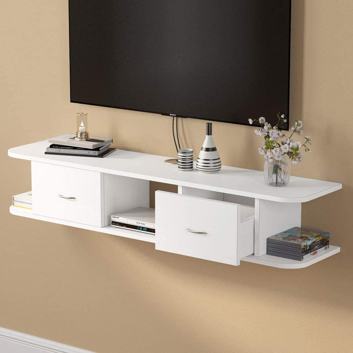 Floating TV Shelf, Tribesigns White Wall Mounted Media TV Stand Console with Drawers, Floating TV Component Shelf
