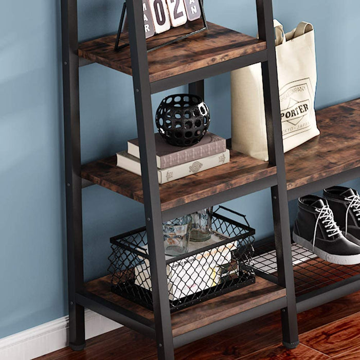 Tribesigns Industrial Entryway Hall Trees with Hooks, Storage Shelves and Bench, Freestanding Closet Organizer Clothes Rack