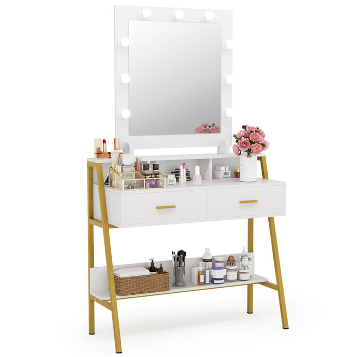 Tribesigns Vanity Table with Lighted Mirror, Makeup Vanity Dressing Table with 9 Lights, 2 Drawers and Storage Shelves