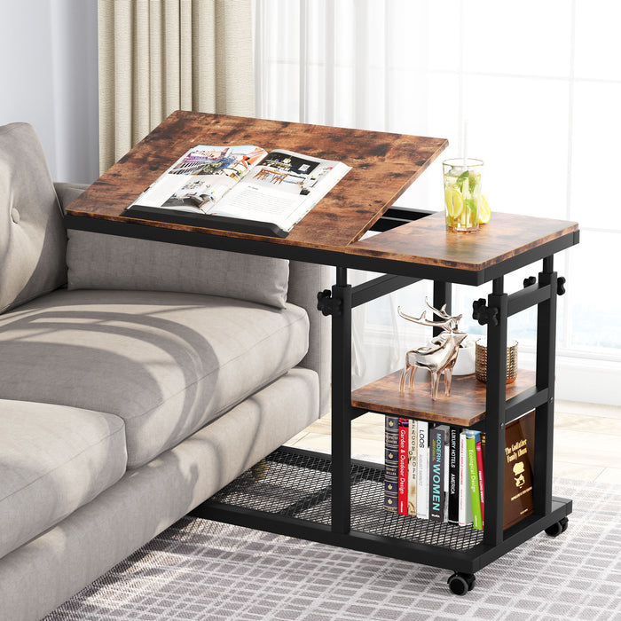Tribesigns Table with Wheels for Couch, Mobile Snack Side Table with Tiltable Drawing Board
