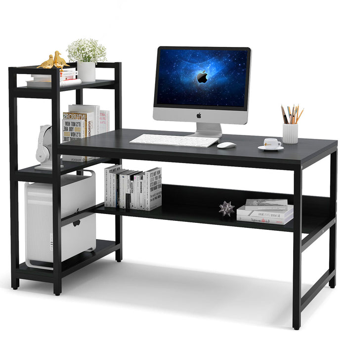 Tribesigns Computer Desk with 4-Tier Storage Shelves, 60 inch Modern Large Home Office Desk Computer Table Studying Writing Desk Workstation with Bookshelf and Tower Shelf