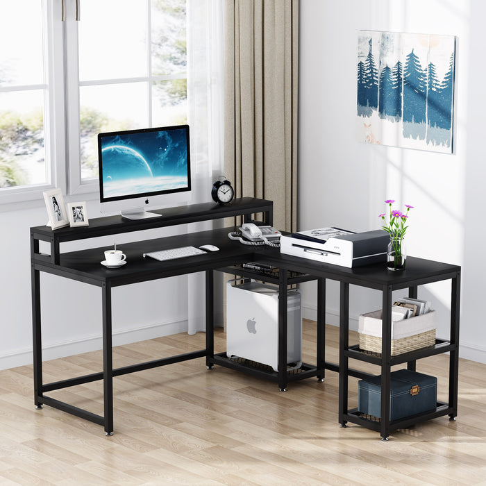 Tribesigns Reversible L-Shaped Desk with Monitor Stand, 59x55 inch Large Corner Computer Desk