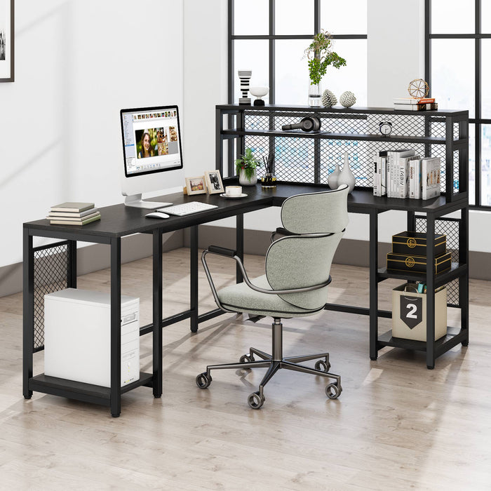 "Tribesigns 67"" Large Computer Desk with Hutch, Office Desk Study Table"