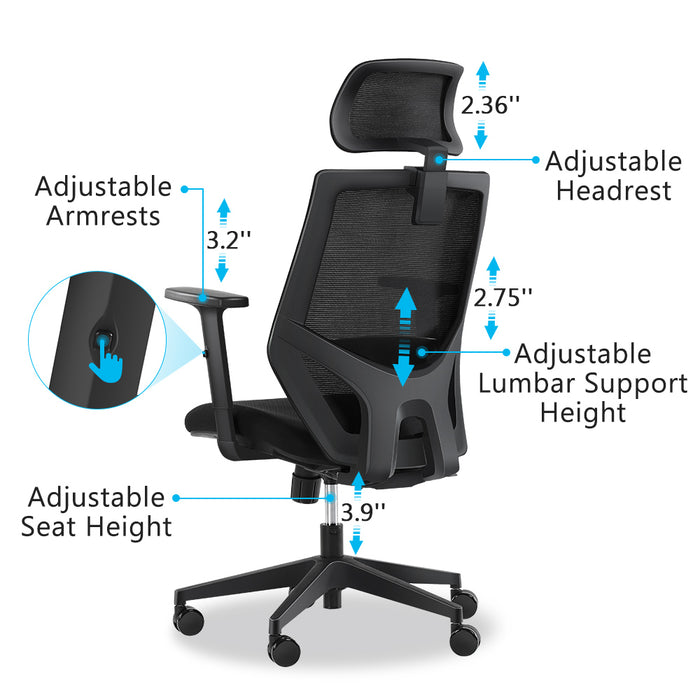 Tribesigns Ergonomic Office Chair, Mesh Chair with Lumbar Support