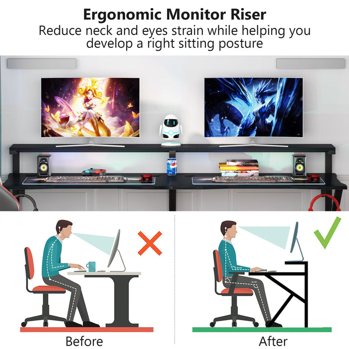 Tribesigns Two Person Gaming Desk with Hutch Monitor Stand, 78 inches Double Computer Desk