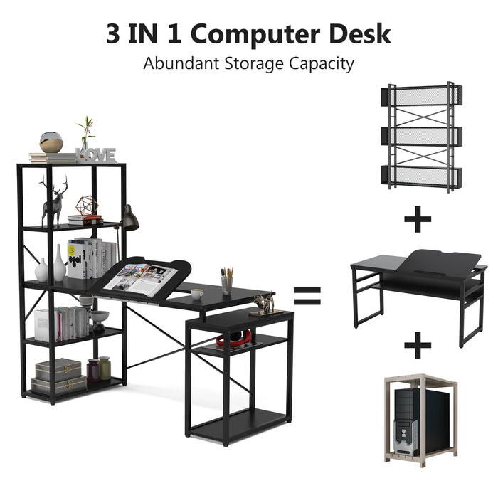 Computer Desk with 5-Tier Storage Shelves, 64 inches Corner Office Desk