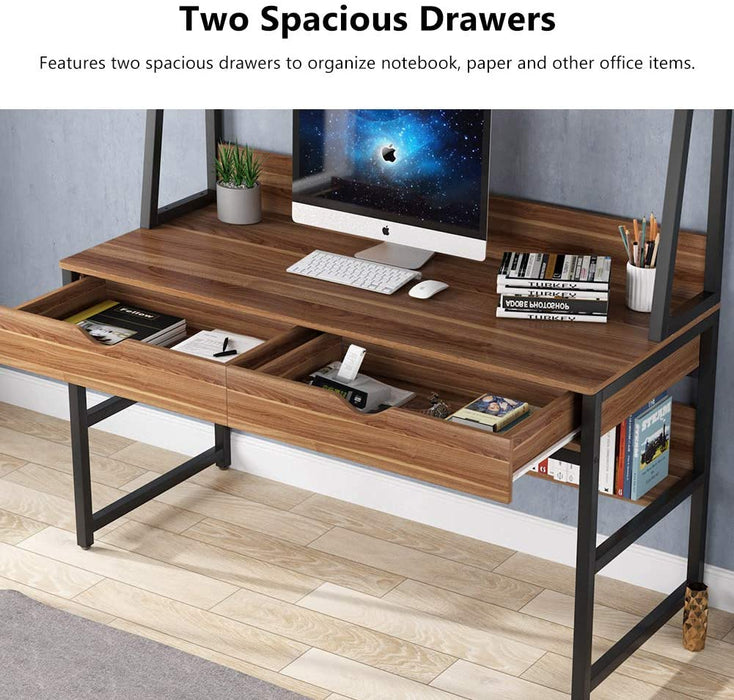 Tribesigns Computer Desk with 2 Drawers, 47 Inches Office Writing Desk with Bookshelf and Hutch