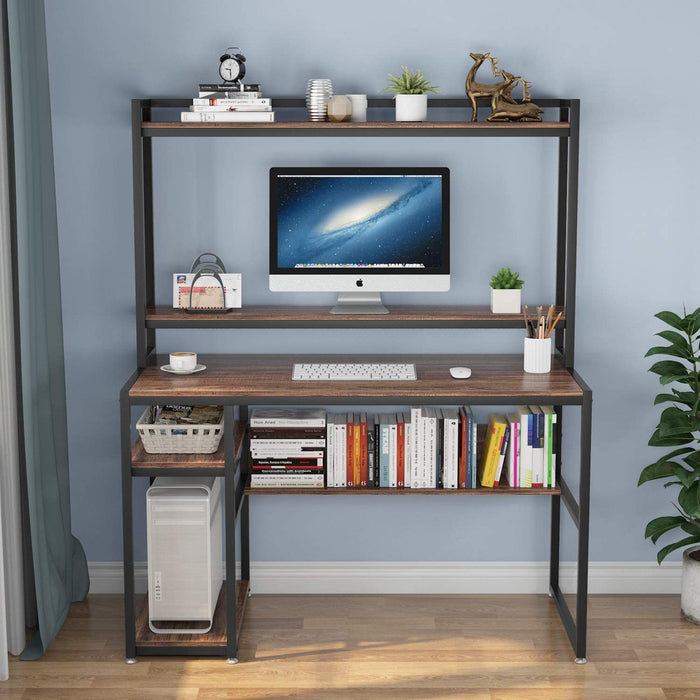 Tribesigns Computer Desk with Hutch and Shelves, 47 Inches Home Office Desk with Bookshelves and CPU Stand, Writing Desk