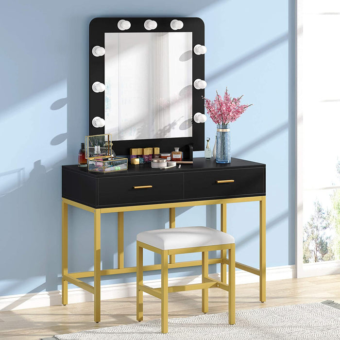 Tribesigns Vanity Table Set with Upholstered Stool, Makeup Vanity Desk with Lighted Mirror and 2 Drawers for Women Girls, Dressing Table for Bedroom