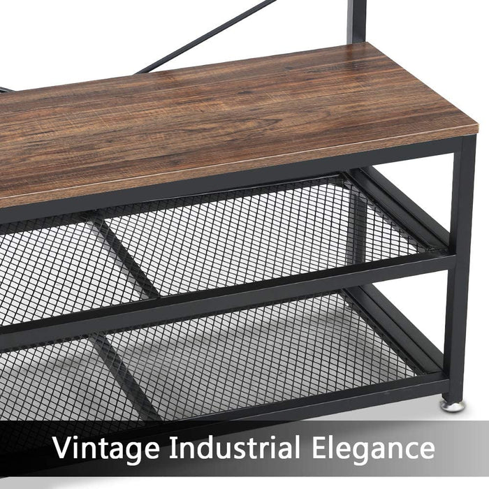 Tribesigns Vintage 4 in 1 Hall Tree with Storage Bench, 3-Tier Industrial Entryway Bench with Coat Rack