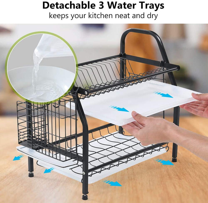 Dish Drying Rack, 2 Tier Dish Rack Stainless Steel with Utensil Knife Holder and Cutting Board Holder