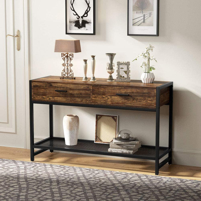 Tribesigns Rustic TV Console Table for 55 inch TVs, Industrial TV Stand Media Entertainment Center with Drawers