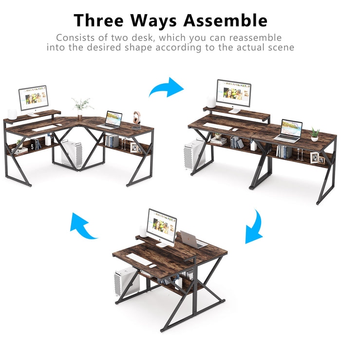 Tribesigns L Shaped Desk with Storage Shelves, 63 inch Reversible Corner Computer Desk with Monitor Stand,Large L Desk Study Writing Desk Double Workstation for Home Office, Gaming, Rustic Brown