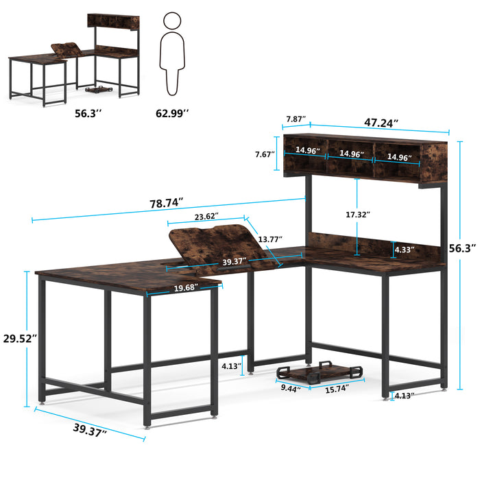 Tribesigns U- Shaped Desk with Hutch Tiltable Drawing Board, 78 inches L Shaped Computer Desk Gaming Table Corner Table Workstation with Storage Bookshelf for Home Office,Dark Walnut
