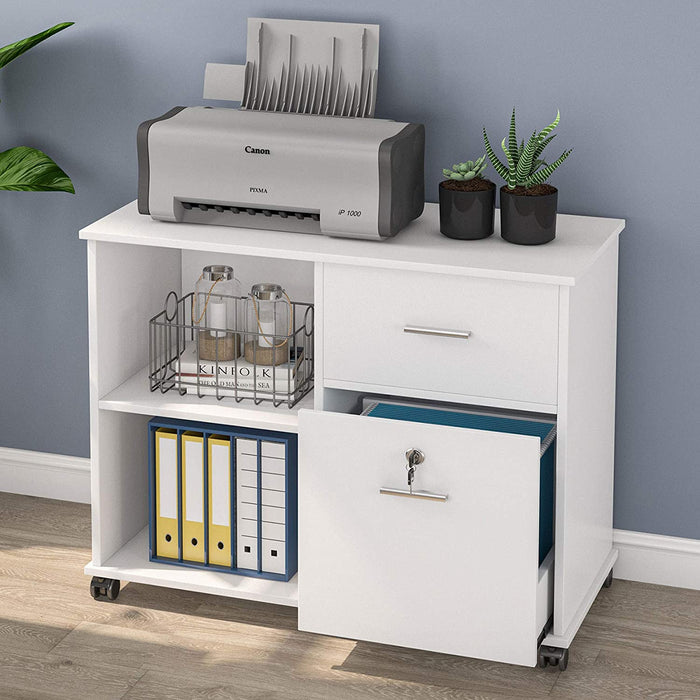 2-Drawer File Cabinet, Mobile Lateral Filing Cabinet with Lock and Wheels, Storage Cabinet