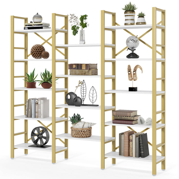 Tribesigns Triple Wide 5-Shelf Bookcase, Vintage Industrial Style