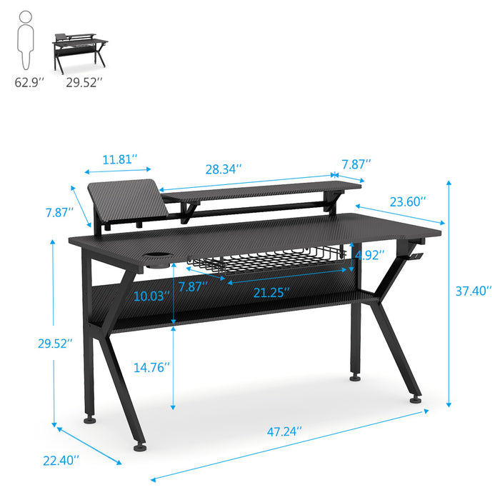 Tribesigns Ergonomic Gaming Desk with Monitor Stand, 47 inch K-Shaped Computer PC Gaming Desk with Storage Shelf,