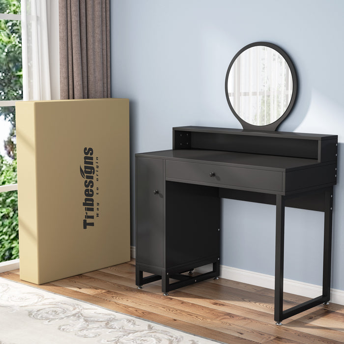 Tribesigns Vanity Set with Round Mirror, Makeup Dressing Table with 3 Large Drawers