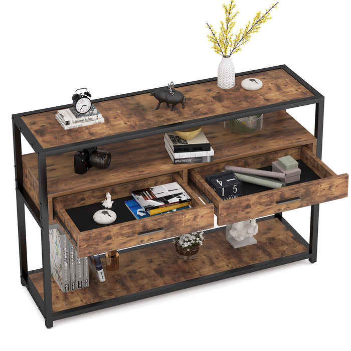 Console Table Sofa Table Entryway Table 3-Tier Industrial Side Table with 2 Large Capacity Drawers