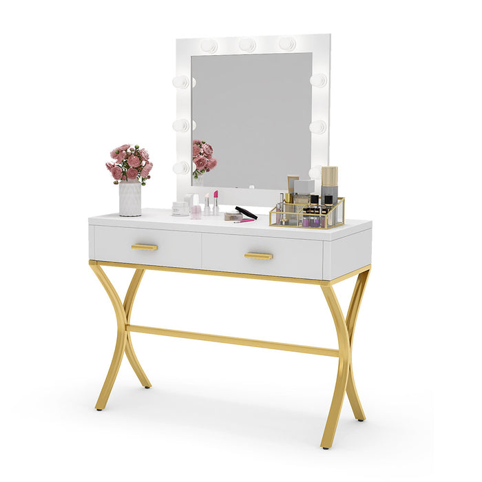 Tribesigns Vanity Table with Lighted Mirror, Makeup Vanity Dressing Table with 9 Lights and 2 Drawers