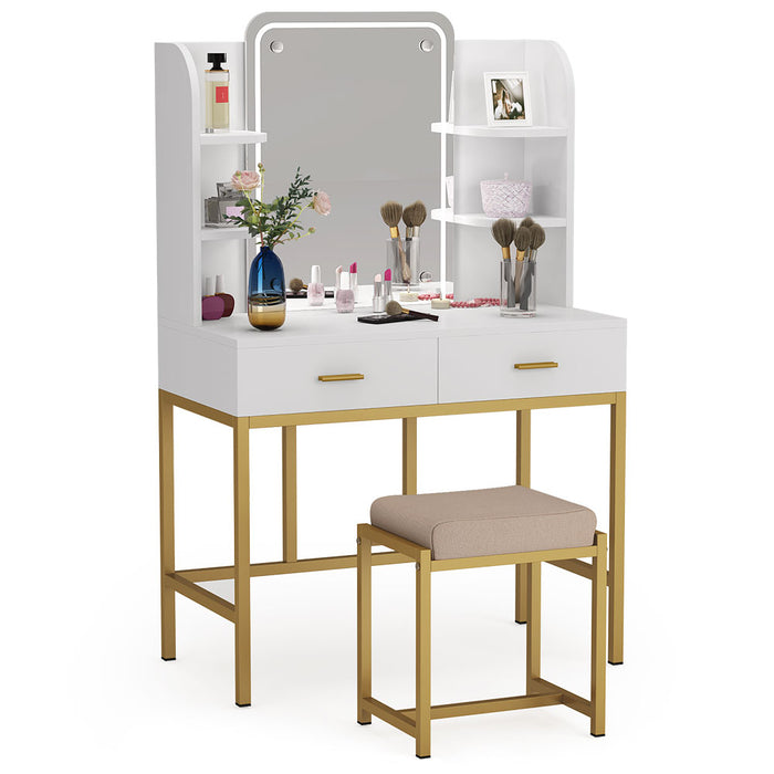 Tribesigns Vanity with LED Lighted Mirror and Cushioned Stool, Large Vanity Table Dressing Table Desk