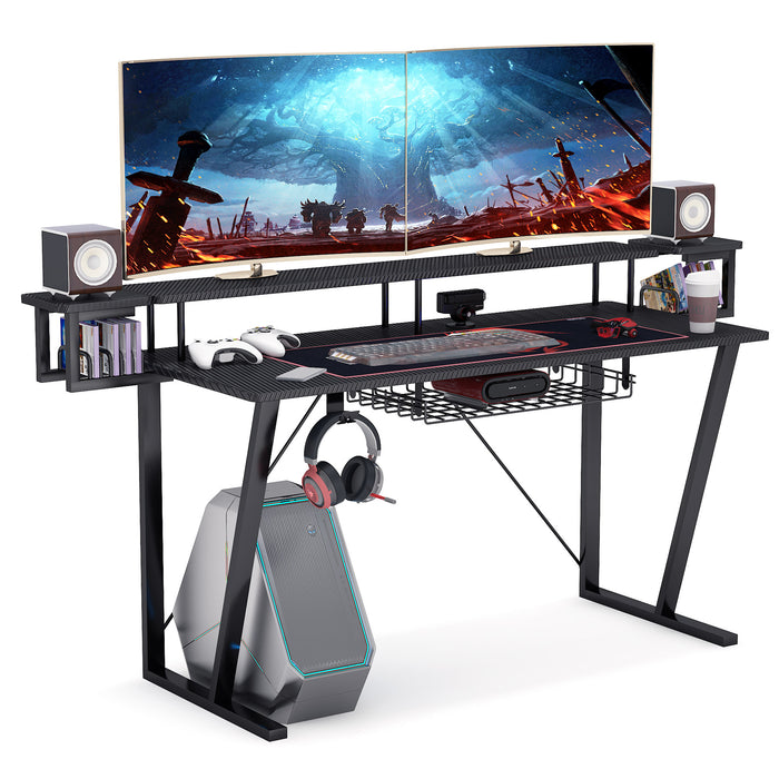 Gaming Desk with Storage Shelf, 55 inches Computer Desk PC Laptop Gamer
