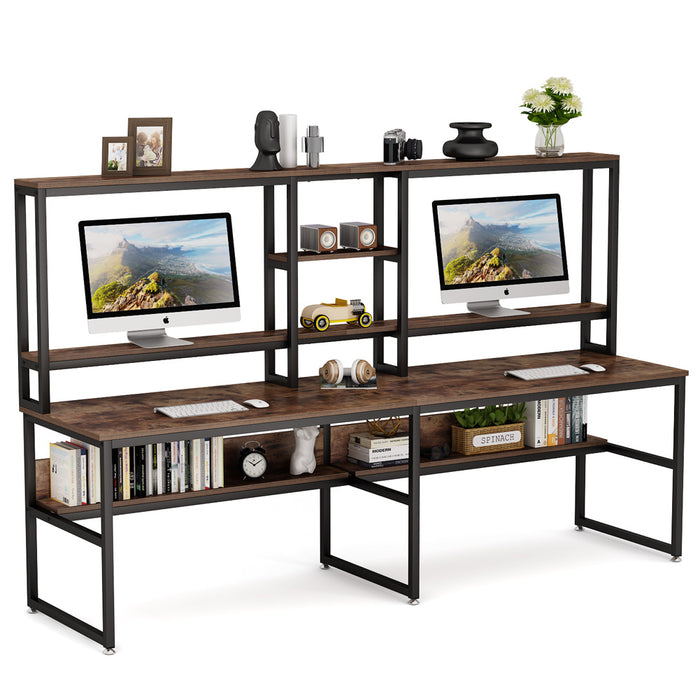 Tribesigns 94.5 inch Two Person Desk with Hutch, Double Workstation Computer Desk with Storage Shelves