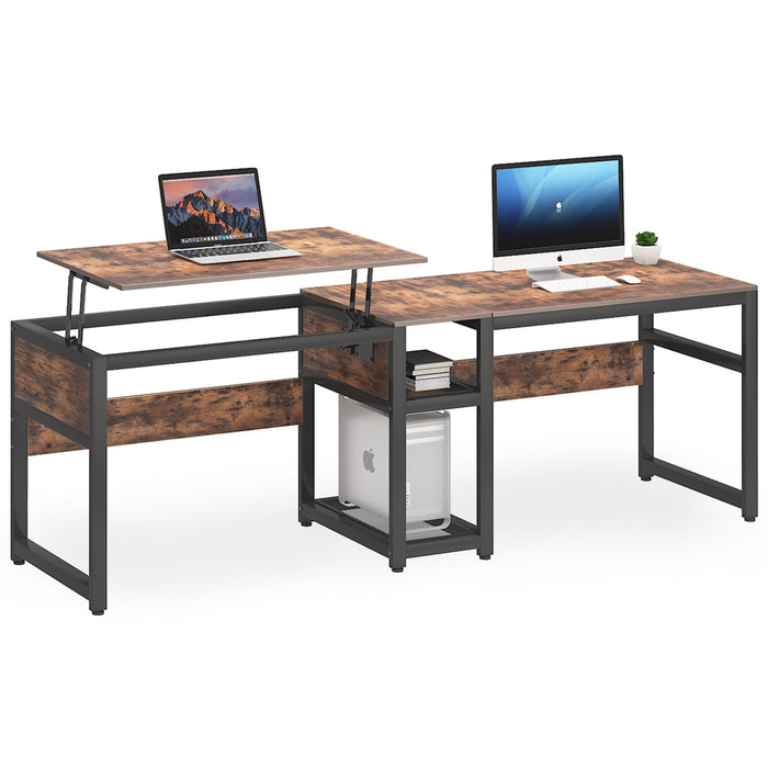 Tribesigns Double Computer Desk with Lift Top, 78.8 inch Extra Long Two Person Desk