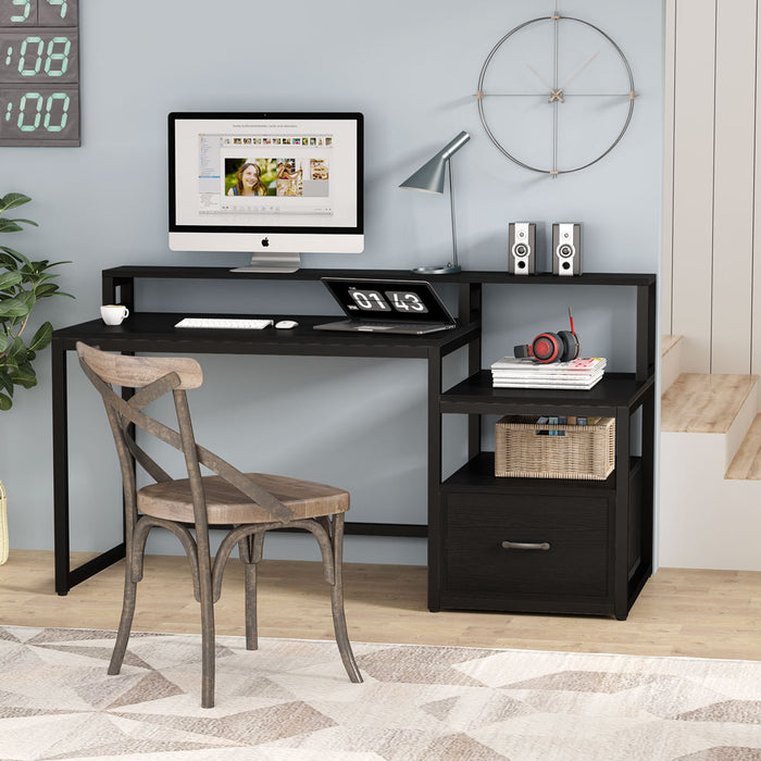 Tribesigns Computer Desk with File Drawer and Storage Shelves