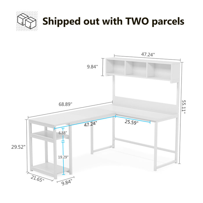 "Tribesigns L-Shaped Desk with Hutch, 68""Corner Computer Desk Gaming Table Workstation with Storage Bookshelf"