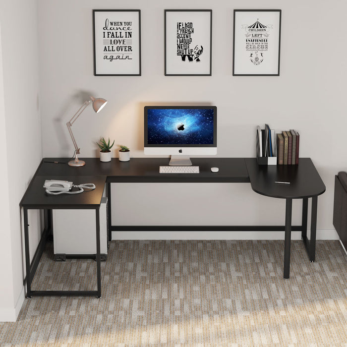 Tribesigns L-Shaped Desk, Rustic U Shaped Corner Computer Desk with Printer Stand