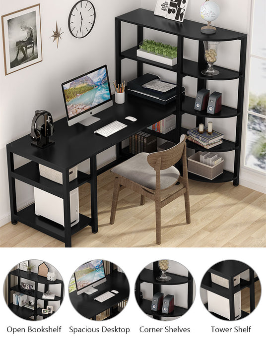 Tribesigns Modern Computer Desk with 5 Tier Storage Shelves