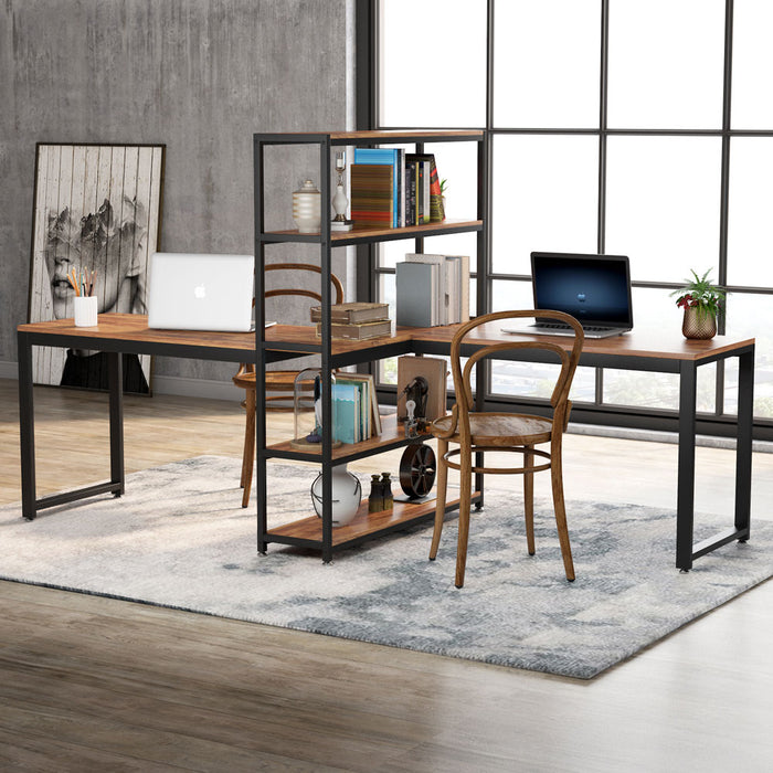 Tribesigns Two Person Computer Desk with Bookshelf