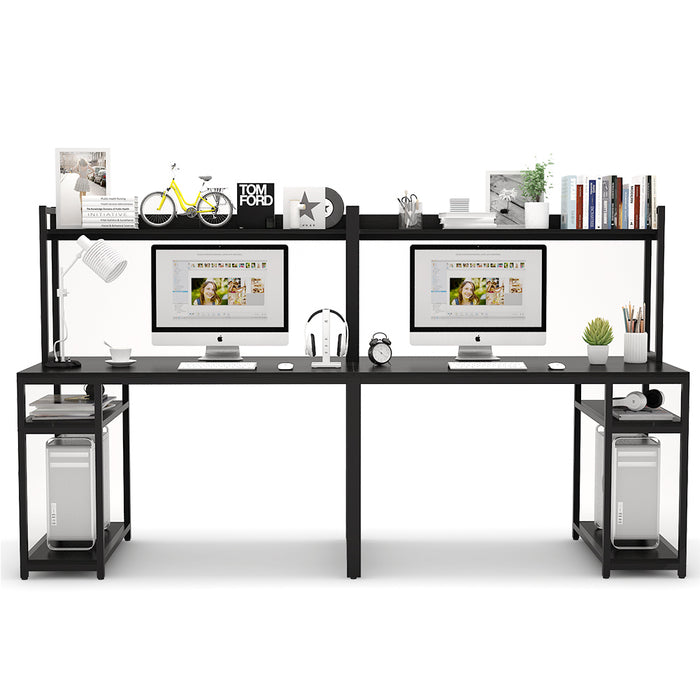 Tribesigns Extra Long Two Person Desk with Storage Shelves