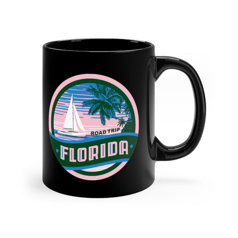 Front view of black mug with Florida Road Trip logo
