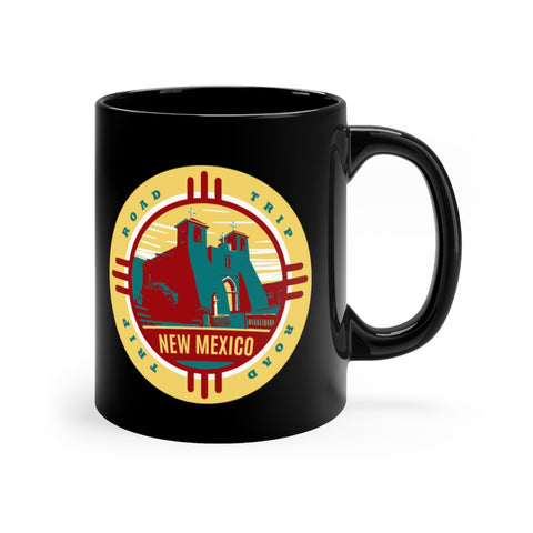 Front view of black mug with New Mexico Road Trip logo
