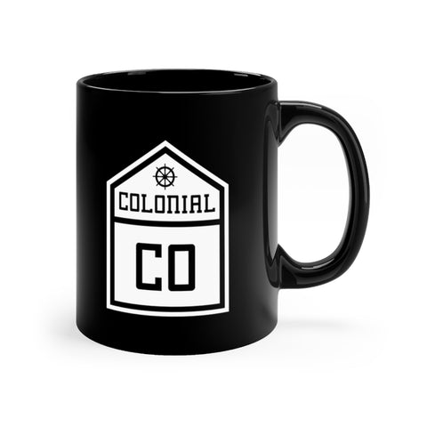 Front view of black mug with Colonial logo
