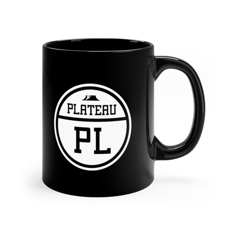 Front view of black mug with Plateau logo