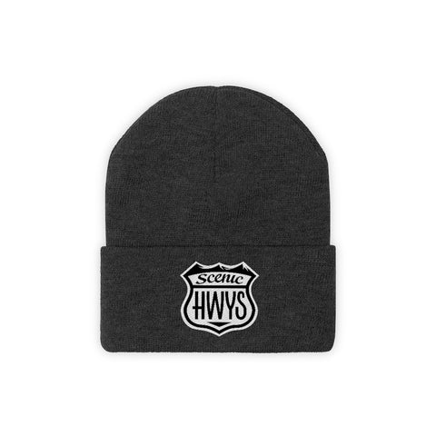Black beanie with Scenic Hwys logo embroidered on front
