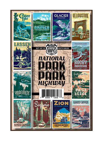 Twelve vintage-style illustrations of Western United States National Parks