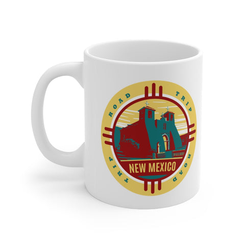 Front view of white mug with New Mexico Road Trip logo