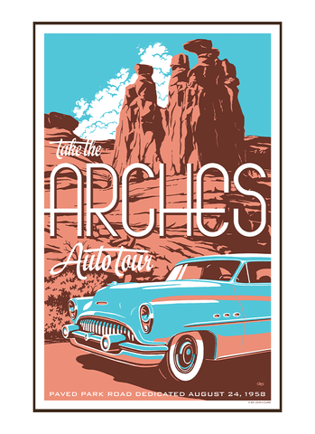 Illustration of vintage car at Arches National Park