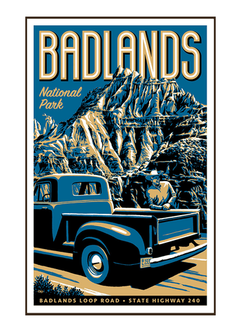 Illustration of vintage truck at Badlands National Park