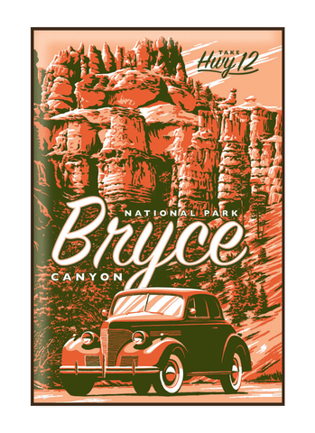 Illustration of vintage car at Bryce Canyon National Park