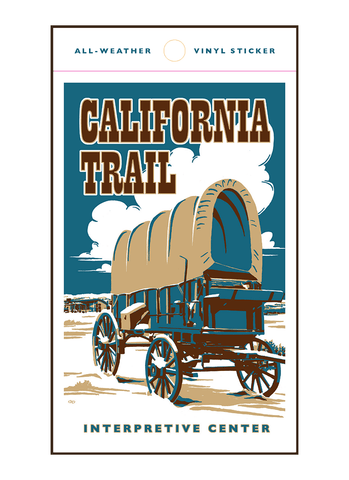 Vintage-style illustration of covered wagon at California Trail Interpretive Center